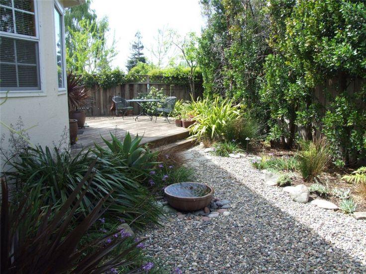 Strap leaf plants at gravel & deck