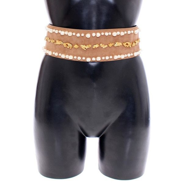 Dolce Gabbana Brown Gold Baroque Suede Leather Waist Belt ($568) ❤ liked on Polyvore featuring accessories, belts, gold belt, dolce gabbana belt and brown belt