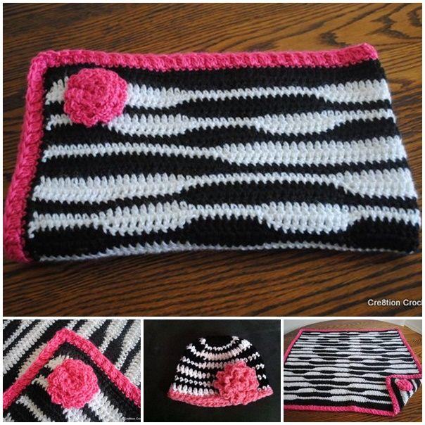 If you love zebra print, you will love this adorable crochet newborn zebra hat and blanket set .    FREE Pattern  #diy #crafts #crochet