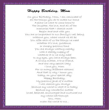 Mom Birthday Poems From Daughter | Poems FOR Mom|Happy ...