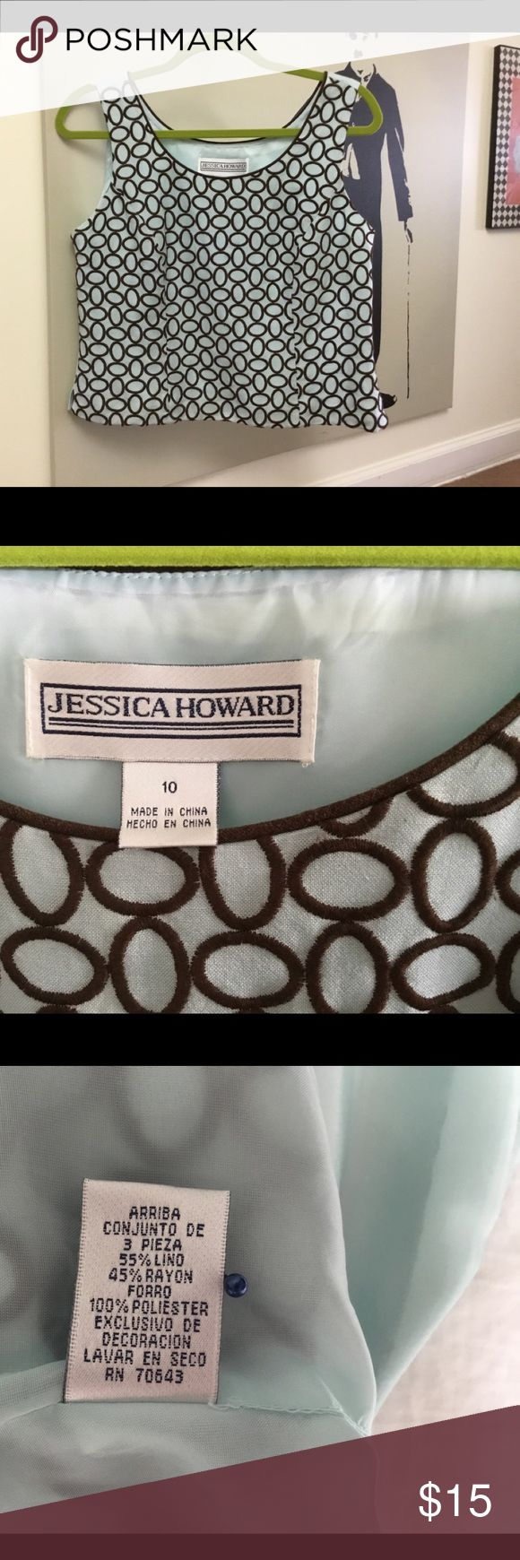 Jessica Howard shirt Baby blue/ chocolate brown, on left side zipper and last the picture you can see light rust spot but hard to see. Jessica Howard Skirts Maxi