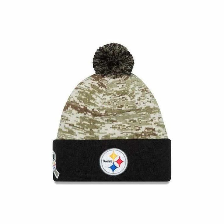 This Pittsburgh Steelers New Era Salute to Service Camo Knit Hat is the best accessory to keep you warm this winter. Get yours on shop.steelers.com.