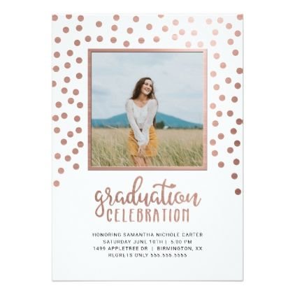 Girly rose gold confetti photo graduation party card - graduation party invitations cards custom invitation card design party