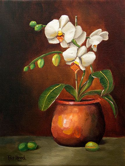 White Orchids in a Copper Pot Orginal Oil by notjustblackandwhite, $99.00