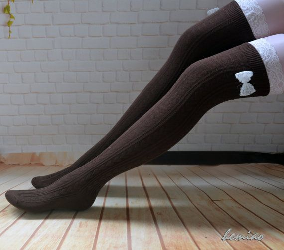 Brown lace boot socks Lace and bow  thigh high  socks  over