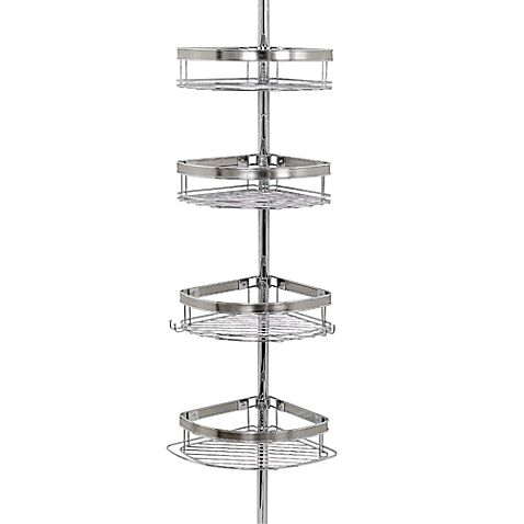 India Ink Tension Corner Pole Shower Caddy In Chrome