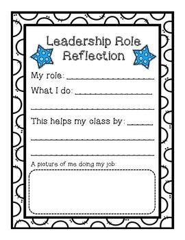 Do students have jobs in your classroom? This is a great reflection piece to complete. I have used this file as part of my students' leadership binders.Hope you enjoy!~Primarily A to ZOther Leadership Products:Leadership Job ApplicationLeadership Binder Cover & Dividers