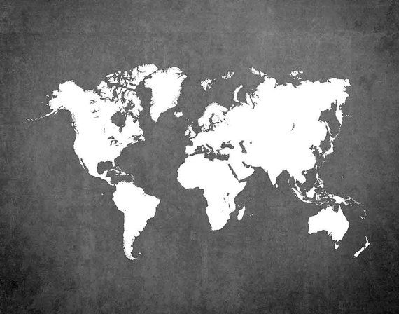 Print de kaart van de wereld kaart poster kaart van door Ikonolexi