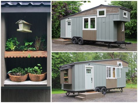 The house is fully portable—it even has a mini garden station outside—and is currently sitting in Battle Ground, WA, with a price tag of $69,950.