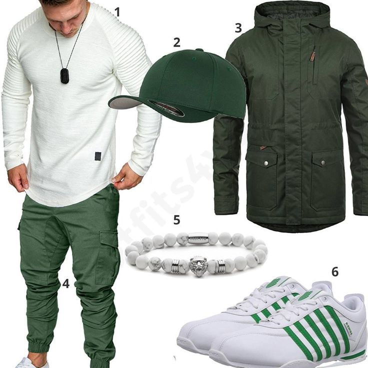 Grün-Weißes Herrenoutfit für den Winter 2019 – Outfits4You