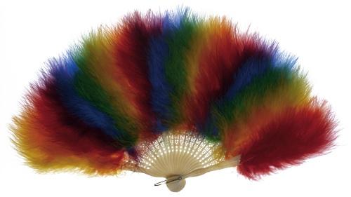 rainbow feather fan