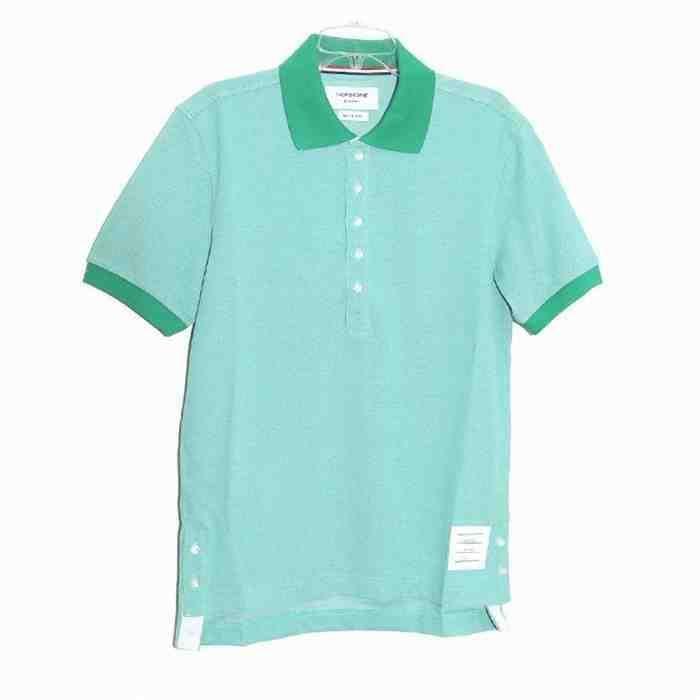[G228]トムブラウン/THOM BROWNE/MJP014AK8254/メンズ/ポロシャツ/半袖/Tシャツ/エメラルド系