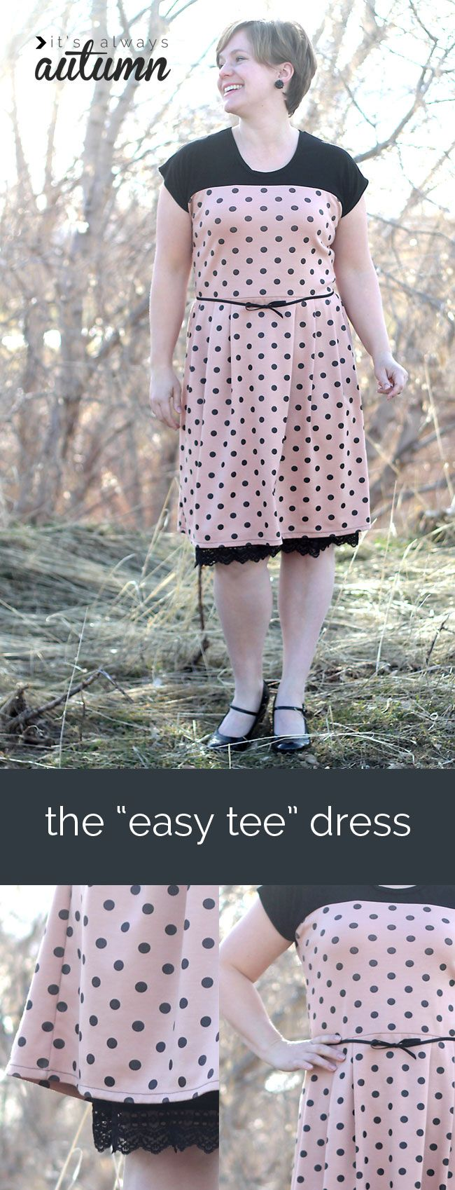 learn to make this cute retro-inspired dress from a free t-shirt pattern! sewing tutorial
