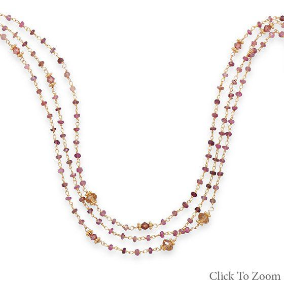 Triple Strand Necklace with Pink Tourmaline        Price: $159.95