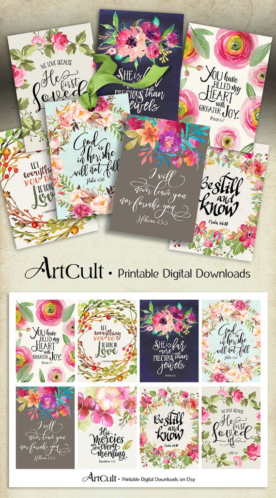 "Printable download BIBLE VERSES TAGS No.5 Scripture Art 2.5""x3.5"" size hang tags digital collage sheet greeting cards ArtCult designs"