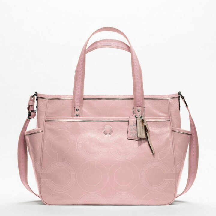 Light pink Coach diaper bag