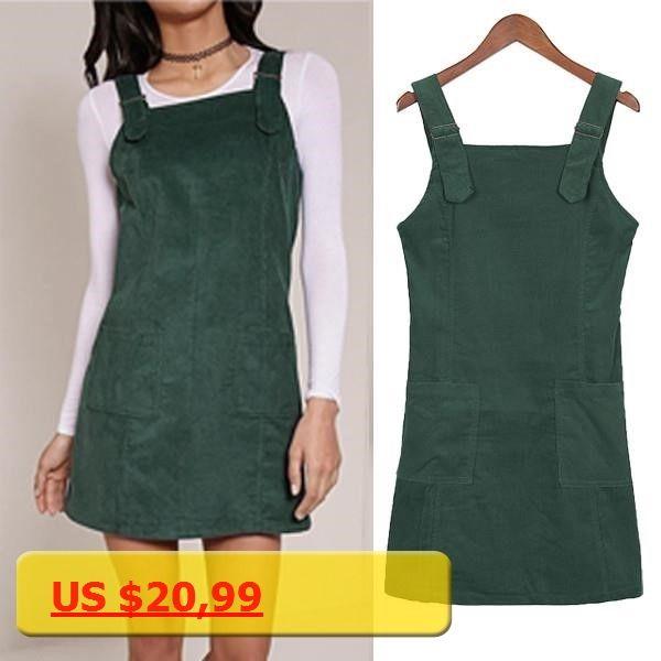 Fashion Women Dungaree Mini Dress Sleeveless A-line Casual Short Tank dress Solid Color Plain Corduroy Vestidos Overalls 3XL