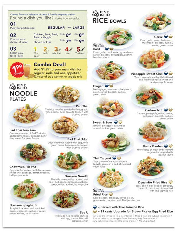 Menu for Five R-cha Thai Go on Behance