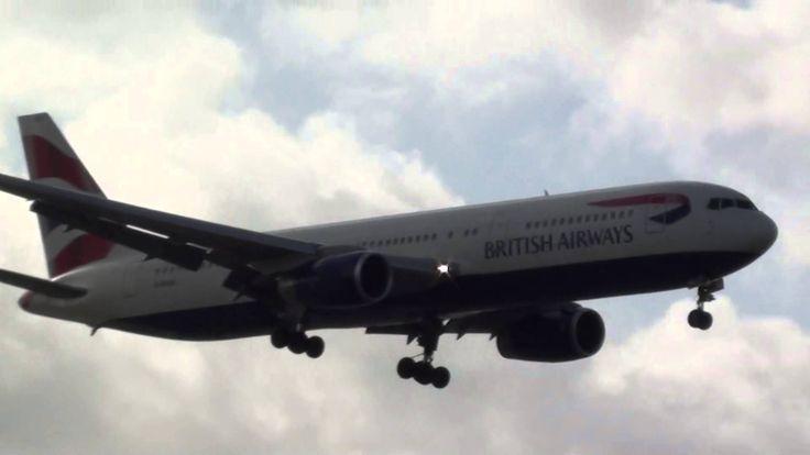 British Airways Boeing 767-300 G-BNWX Landing London Heathrow 27R