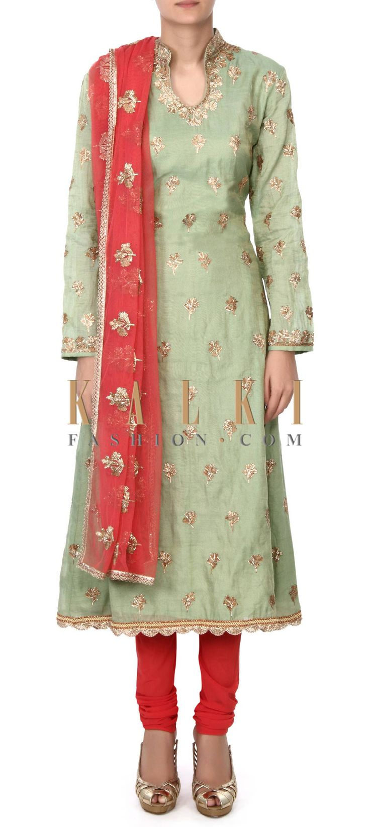 Buy this Green straight suit embellished in zari embroidery only on Kalki