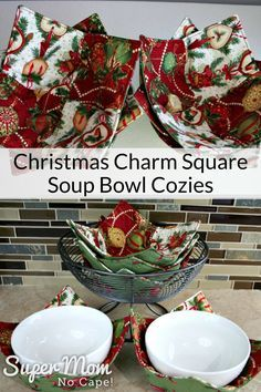 Sew up a bunch of Christmas Charm Square Soup Bowl Cozies to use over the holiday and to give as gifts. #sewing #DIYgiftideas #charmsquares #soupbowlcozies via @susanflemming