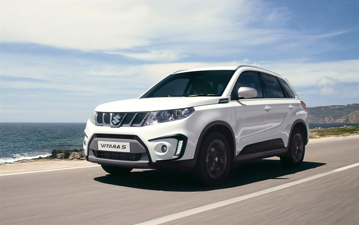 Download wallpapers Suzuki Vitara S, 4k, 2017 cars, crossovers, road, Suzuki
