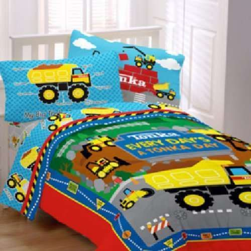 boys tonka truck construction trucks twin single comforter sheet bedding set ebay ideas for. Black Bedroom Furniture Sets. Home Design Ideas