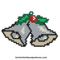 Free Silver Bells Christmas Earring Charm Bead Pattern