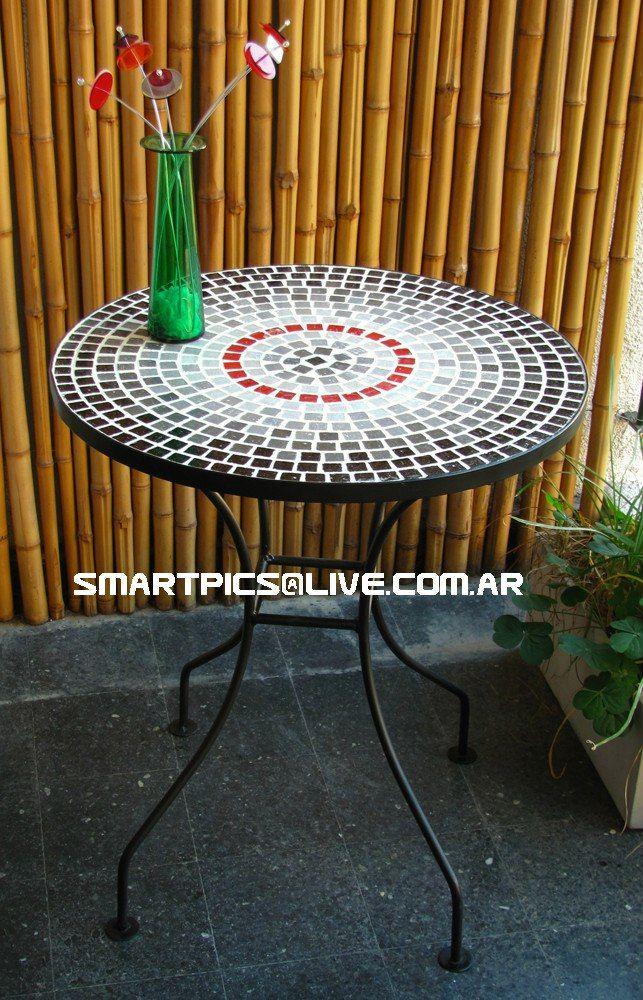 Mesa de hierro y venecitas para balc n o jard n mesas - Mesas de hierro para jardin ...