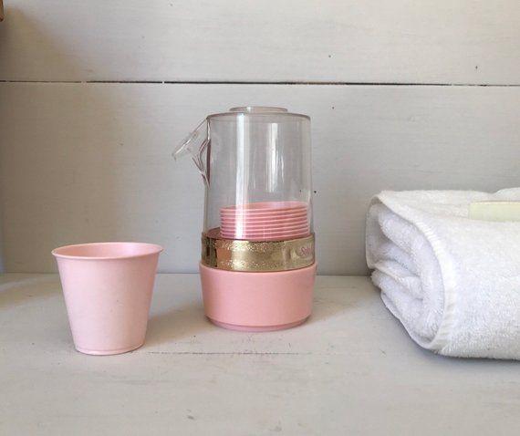 Pink Bathroom Cup Holder Dispenser Vintage Wall Mount Retro Mid Century Bathroom Decor Plastic Retro Bathroom Decor Vintage Walls Retro Bathrooms