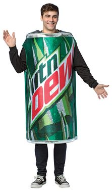 With this photo-realistic costume of one of the most popular soft drinks in the world you can show the world that you love to do the Dew! Can of Mountain Dew costume covers from neck/shoulders to roug