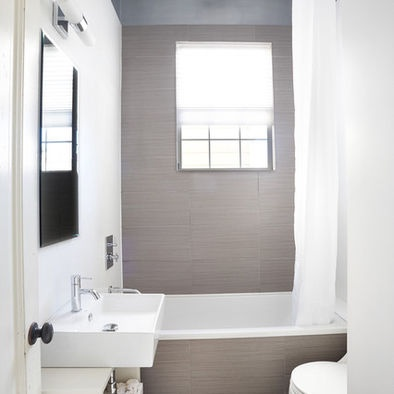 Love tile and design. Could make for a wider tub if we could make enough room between tub and vanity, which means sacrificing the depth on both of those. Hmmm...