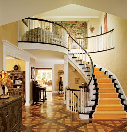Charleton Varney stairway -entry design for Dorothy Draper. The parquet floor!