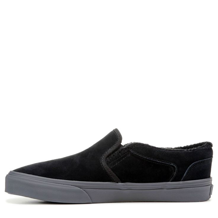 Vans Men's Asher Slip On Suede Skate Shoes (Black/Black/Grey)