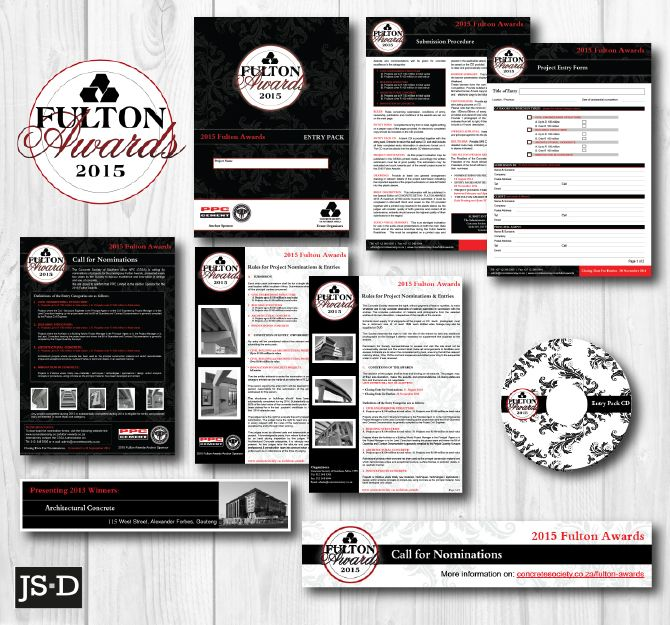 Stationery Designed for the 2015 Fulton Awards, a Concrete Society of SA event.