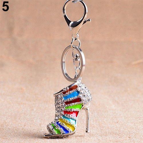 Magnifique porte-clés ou bijoux de sac en forme d'escarpins argent