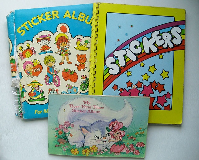 Sticker books- I had the blue one (also the same one in pink) and the rose petal place one too!