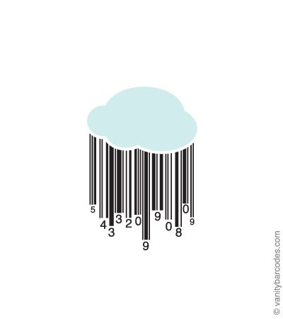 The Rain Cloud barcode is a lighthearted representation of your UPC barcode number. The numbers fall from a little rain cloud, leaving a barcode trail behind them. It's an adorable barcode for a variety of products. Here are some ideas: baby products, kid products, bottled spring water, gardening products and more.