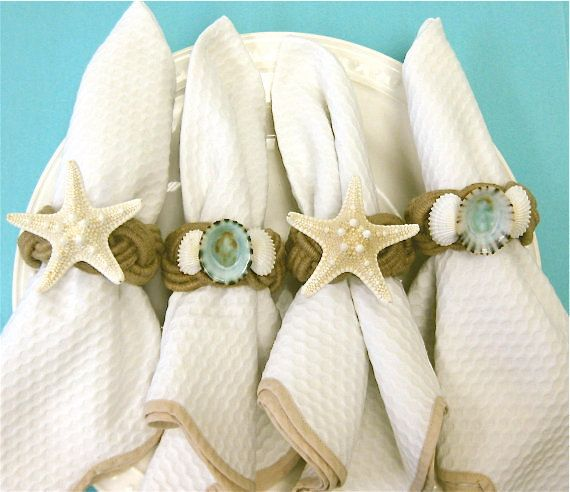 Beach Decor  Seashell and Starfish Napkin by SeashellCollection