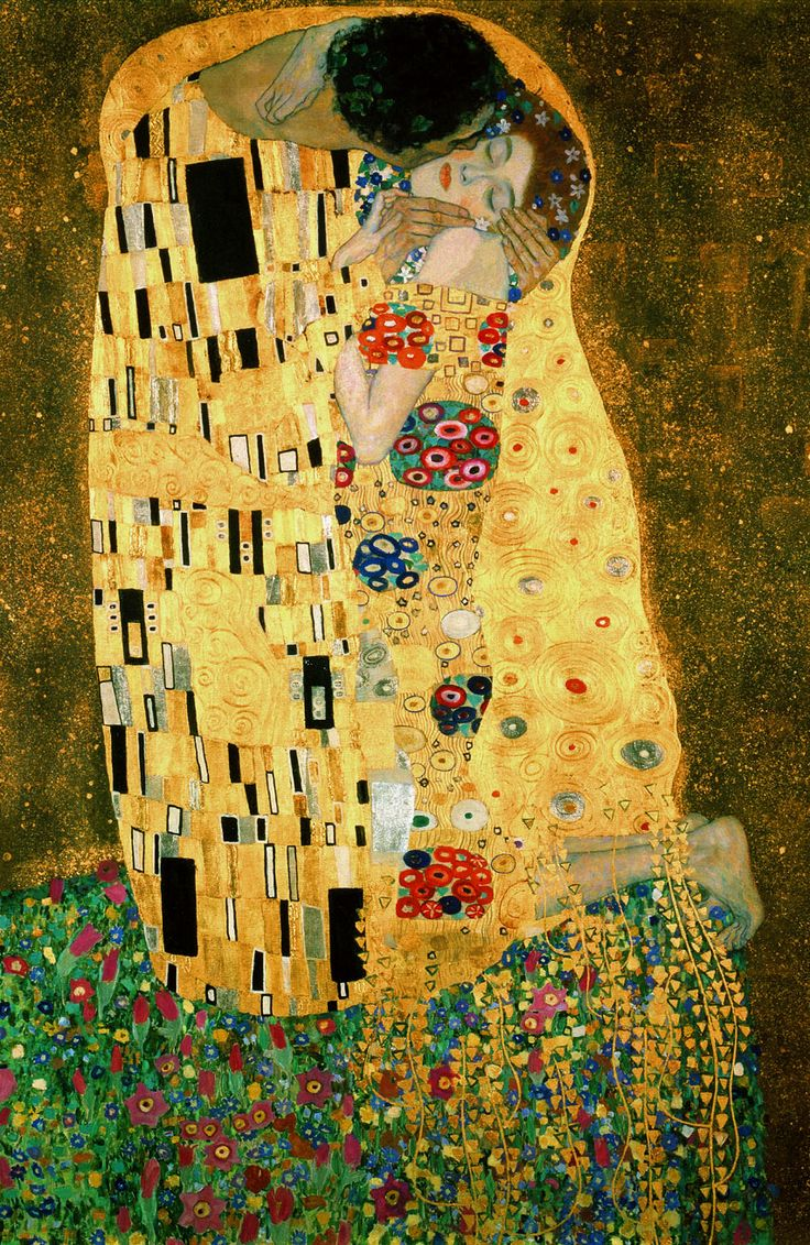 Gustav Kilmt, The Kiss, oi and gold leaf on canvas, 1907-08                                                                                                                                                     Mais
