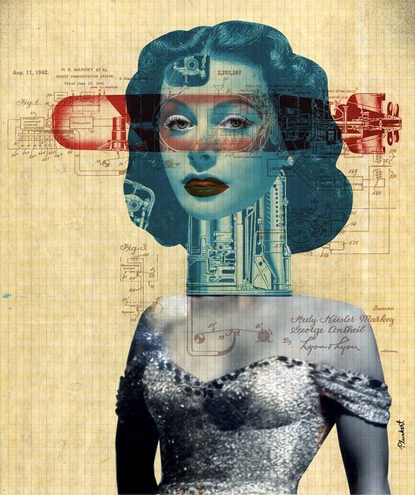 David Plunkert of Spur Design. His illustrations are highly conceptual, in two styles; Dada influenced collage and spare blocky graphics .