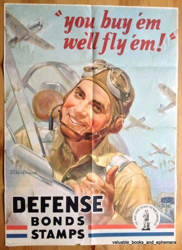 """SOLD! 1942 Original Vintage War WW2 Poster """"We'll Fly 'Em"""" Pilot Air Fighter Planes"""