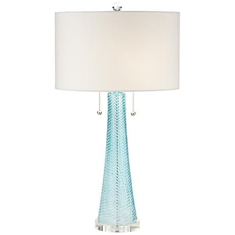 Possini Euro Miriam Blue Glass Table Lamp   Style # 8Y557