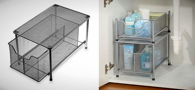 Organize the space under your sink with this cabinet drawer.