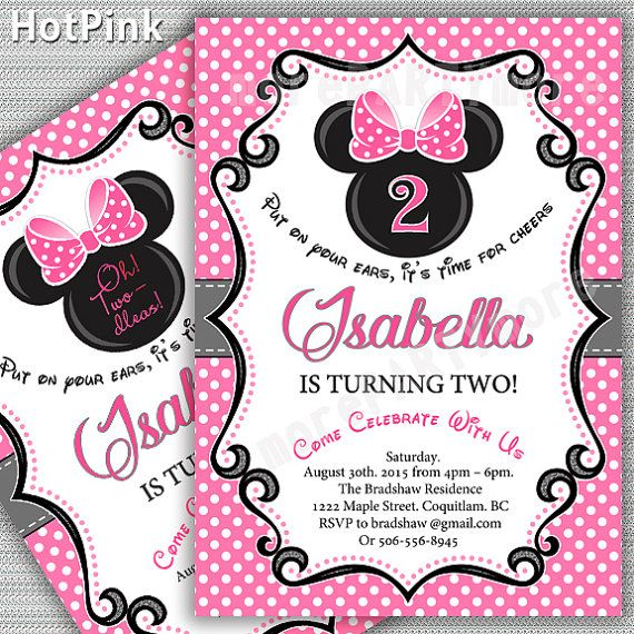Minnie Birthday Party Invitation Hot Pink Red Mouse First 1st 2nd Oh Toodles