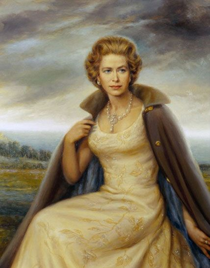 HRH Queen Elizabeth, painting, Wallace King
