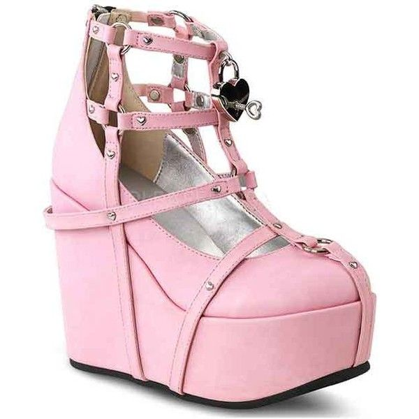 Demonia Pasel Goth Pink Cage Strap Platform Shoes ❤ liked on Polyvore featuring shoes, vegan leather shoes, heart shoes, gothic shoes, vegan shoes and platform shoes