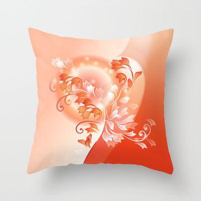 Sunsetflower Throw Pillow by Nina Baydur - $20.00 #sunset #Sonnenuntergang #stilisierte Blüten #rot #weiß #red #white #flower #Blume, #Blüten, #Frühling #Sommer #spring #summer #Kissen #Schlaf #sleep #cushion #rest  #Schlafzimmer #bedroom #couch #home #decor