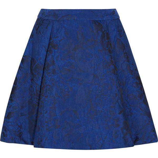 Alice + Olivia Vernon jacquard mini skirt ($165) ❤ liked on Polyvore featuring skirts, mini skirts, saias, cobalt blue, cobalt blue skirt, alice olivia skirt, short skirts, jacquard skirts and short blue skirt