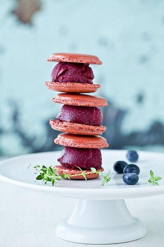 Blueberry Sorbet Macarons by tartelette, via Flickr